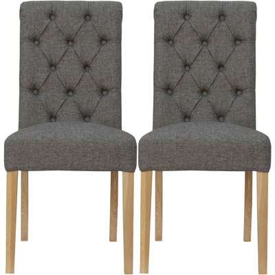 Dark Grey Fabric Scroll Back Dining Chair (Pair)