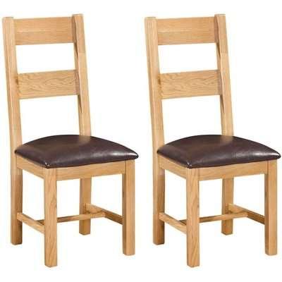 Dorset Oak Ladder Back Dining Chair (Pair) - Devonshire Furniture