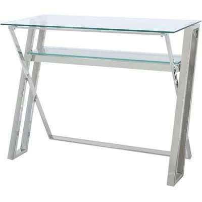 Doyline Cross Frame Desk - Glass and Chrome