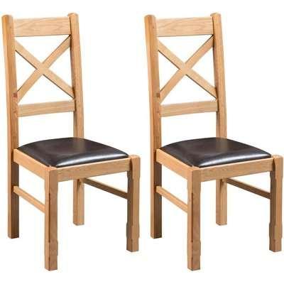 Fairford Oak Cross Back Dining Chair (Pair)