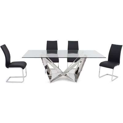 Florentina Glass Dining Set with Stainless Steel Base - 200cm Rectangular with 4 Paolo Black Chairs