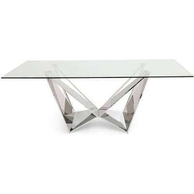 Florentina Glass Dining Table with Stainless Steel Base - 200cm Rectangular