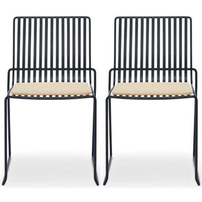 Floriston Natural Woven Fabric and Brass Brushed Stacking Dining Chair (Pair)