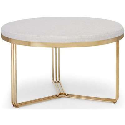 Floriston Natural Woven Fabric and Brass Brushed Round Footstool