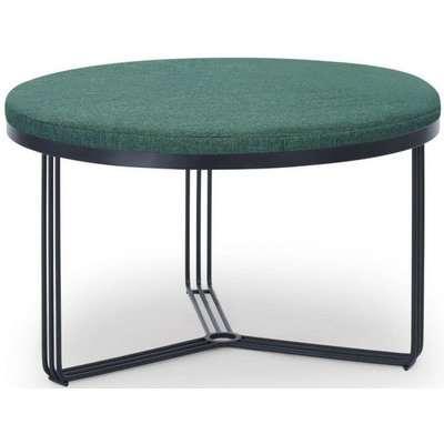 Floriston Conifer Green Woven Fabric and Black Matt Round Footstool