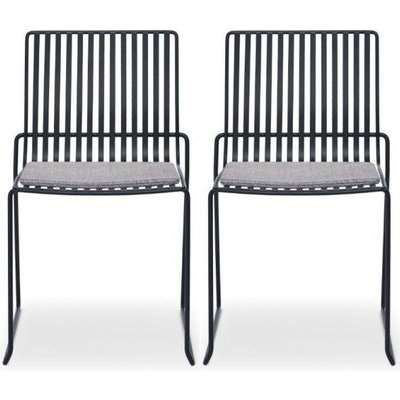 Floriston Pewter Woven Fabric and Brass Brushed Stacking Dining Chair (Pair)