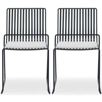 Floriston Silver Woven Fabric and Brass Brushed Stacking Dining Chair (Pair)