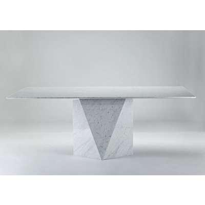 Freedom Slim Edge Rectangular Marble Dining Table - Stainless Steel Base - Stone International
