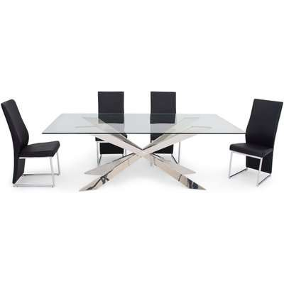 Gabriella Glass Dining Set with Stainless Steel Base - 210cm Rectangular with 4 Remo Black Chairs