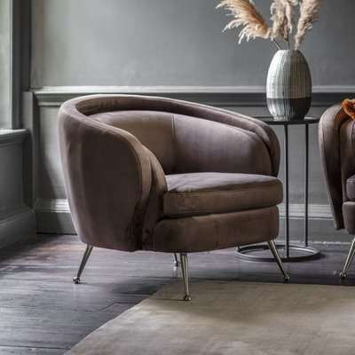 Gallery Direct Tesoro Dark Taupe Velvet Fabric Tub Chair