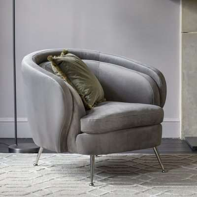 Gallery Direct Tesoro Grey Velvet Fabric Tub Chair