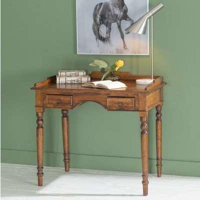 Ganga Sheesham Writing Desk - 2 Drawers -Turned Leg