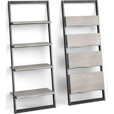 Global Home Brooklyn Grey Oak Slim Ladder Bookcase