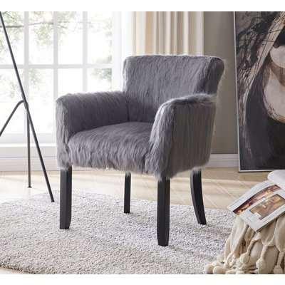 Grey Faux Sheepskin Fur Tub Chair