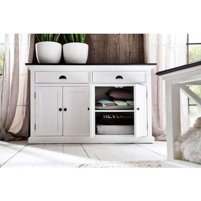 Halifax Painted White and Walnut Sideboard Buffet