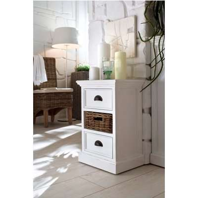 Halifax White Bedside Storage Unit with Basket