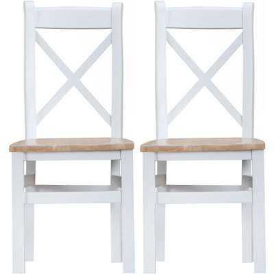 Hampstead Oak and White Painted Ladder Back Wooden Seat Dining Chair (Pair)