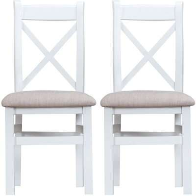 Hampstead White Painted Ladder Back Fabric Seat Dining Chair (Pair)