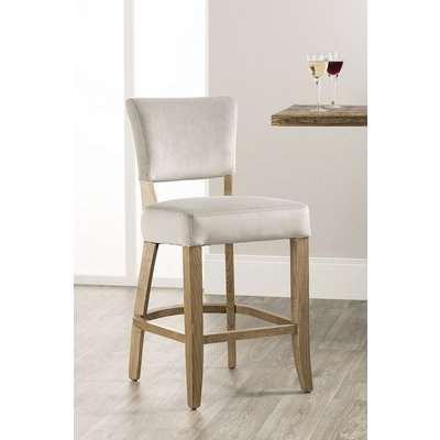 Hedon Grey Velvet Fabric Barstool