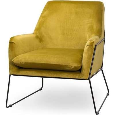Hill Interiors Eva Framed Mustard Velvet Club Chair