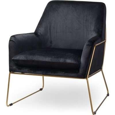 Hill Interiors Flynn Framed Black Velvet Club Chair