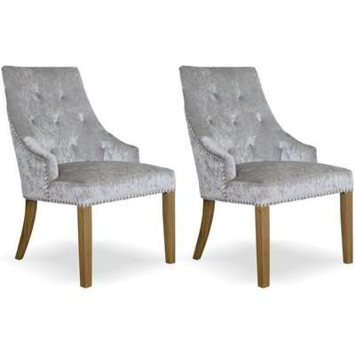Homestyle Bergen Crushed Velvet Silver Dining Chair