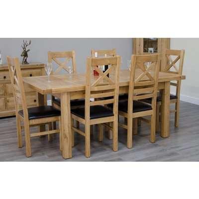 Homestyle Deluxe Oak Cross Leg Extending Dining Set - 6 Ladder Back Chairs