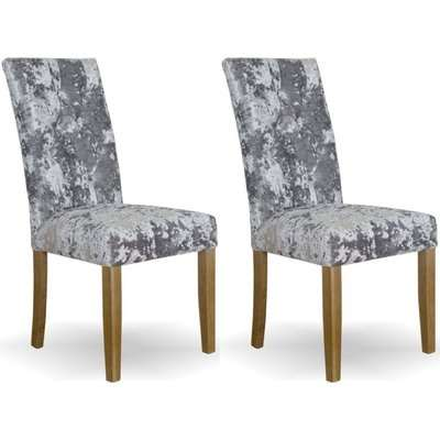 Homestyle Stockholm Deep Crushed Velvet Silver Dining Chair