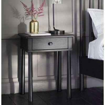 Hudson Living Wycombe Black 1 Drawer Bedside Table