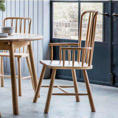 Hudson Living Wycombe Oak Carver Dining Chair (Pair)