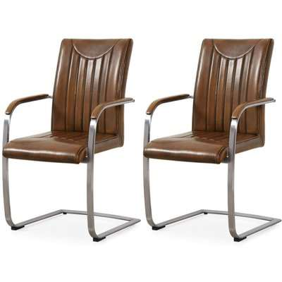 Industrial Retro Stitch Faux Leather Dining Armchair (Pair)