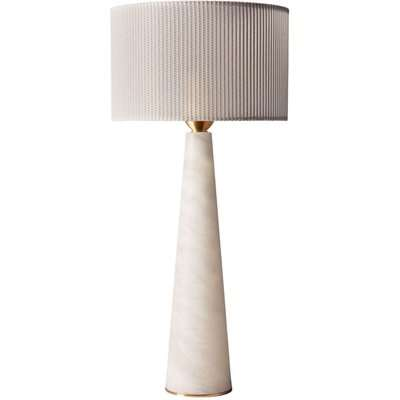 Heathfield Ives Alabaster Table Lamp with Dove Linear Sheer Shade