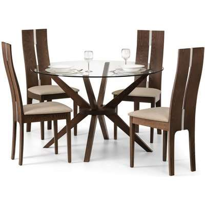 Julian Bowen Chelsea Walnut and Glass Round Dining Set with 4 Cayman Chairs - 120cm
