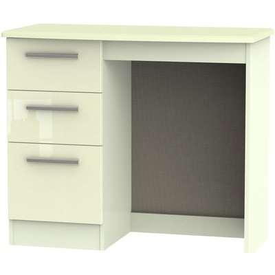 Knightsbridge High Gloss White and Oak Dressing Table - Vanity Knee Hole