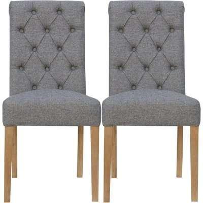 Light Grey Fabric Scroll Back Dining Chair (Pair)