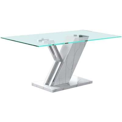 Lisco White Faux Marble and Glass Coffee Table
