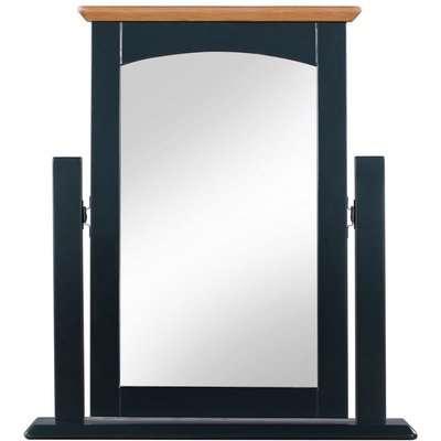 Lowell Oak and Blue Painted Vanity Mirror