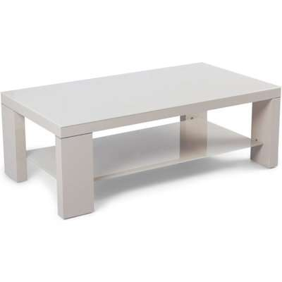 Lucca Cream High Gloss Coffee Table with Glass Top