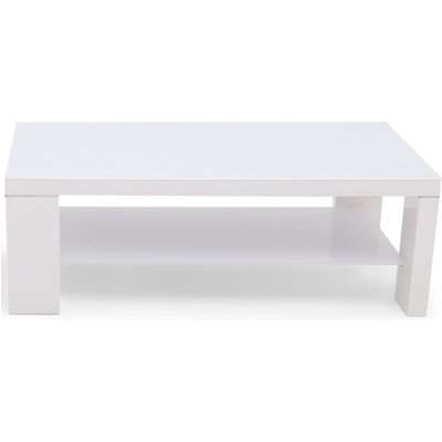 Lucca White High Gloss Coffee Table with Glass Top