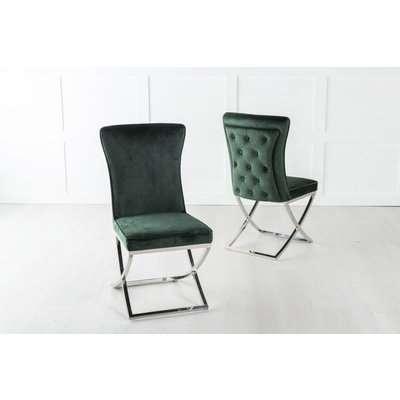 Lyon Buttoned Back Dining Chair / Cross Chrome Legs - Tufted Green Velvet