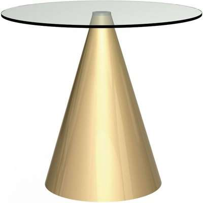 Maida Clear Glass Dining Table with Brass Conical Base - Round Small