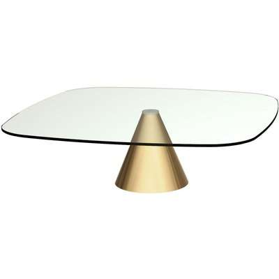 Maida Clear Glass Large Square Coffee Table with Brass Conical Base