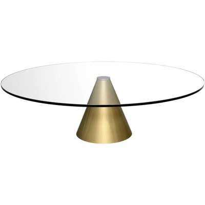 Maida Clear Glass Small Square Coffee Table with Black Conical Base