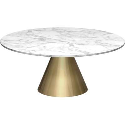 Maida Clear Glass Small Round Coffee Table with Brass Conical Base