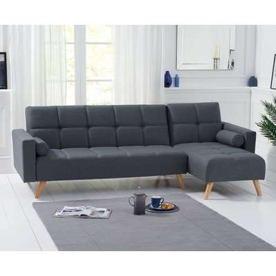 Mark Harris Abigail Grey Linen Fabric Left Hand Facing Corner Chaise Sofa Bed