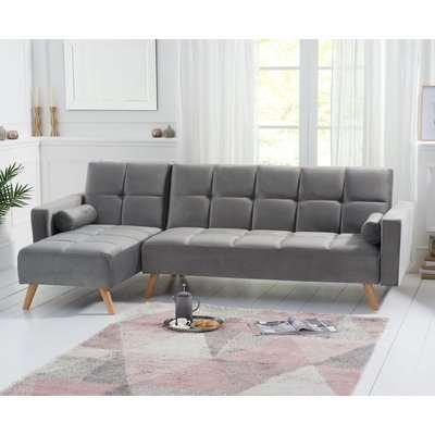 Mark Harris Abigail Grey Velvet Left Hand Facing Corner Chaise Sofa Bed