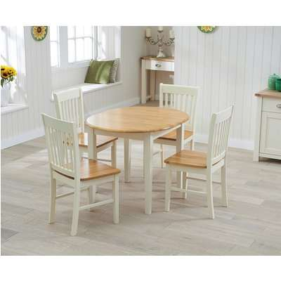 Mark Harris Alaska Oak and Cream 107cm Oval Extending Dining Set with 4 Painted Chairs