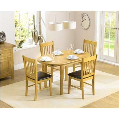 Mark Harris Alaska Solid Hardwood 107cm Round Extending Dining Set with 4 Brown Faux Leather Chairs