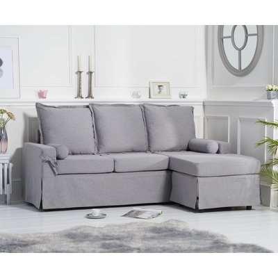 Mark Harris Celia Grey Linen Fabric 3 Seater Reversible Chaise Sofa