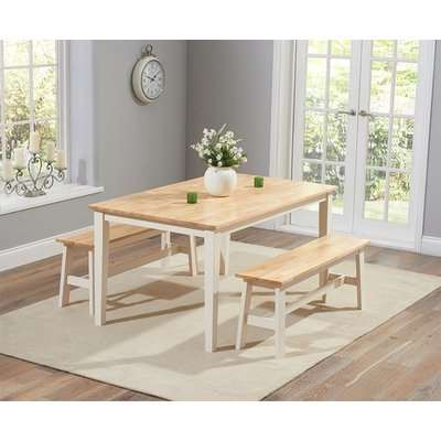 Mark Harris Chichester White Dining Table and 2 Benches